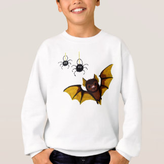 Adorable Halloween Brown Bat with 2 Fluffy Spiders Sweatshirt