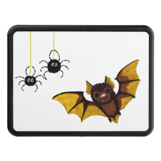 Adorable Halloween Brown Bat with 2 Fluffy Spiders Trailer Hitch Cover