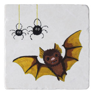 Adorable Halloween Brown Bat with 2 Fluffy Spiders Trivet