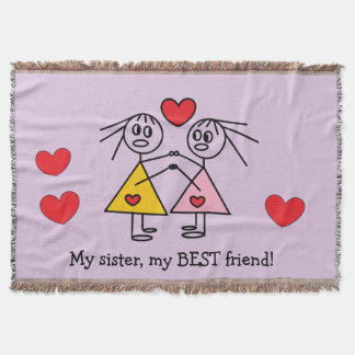 Adorable Hand Drawn Sisters Stick Figures Design Throw Blanket