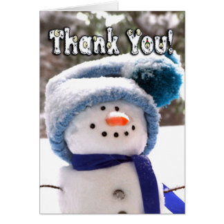 Adorable Handmade Snowman Thank You Note Card