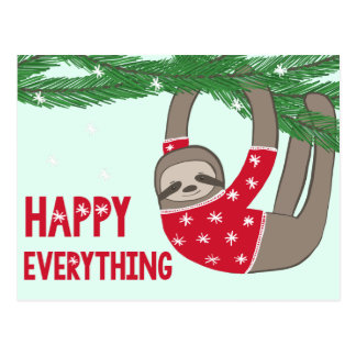 Adorable Happy Everything Sloth in a Sweater Postcard