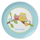 Adorable Happy Owls Customizable Plate