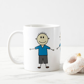 Adorable Happy Stick Figure Boys Print Coffee Mug