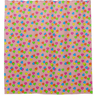 Adorable Hearts Pattern Shower Curtain