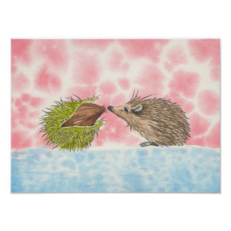 Adorable hedgehog print by Russ Billington