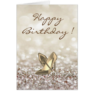 Adorable High Heels on Glittery ,Birthday Card