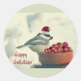 Adorable Holiday Chickadee Round Sticker