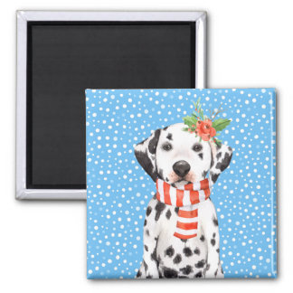 Adorable Holiday Dalmatian Puppy Magnet