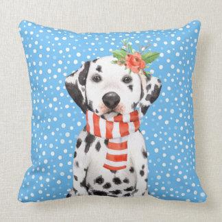 Adorable Holiday Dalmatian Puppy Pillow