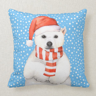 Adorable Holiday Polar Bear Pillow