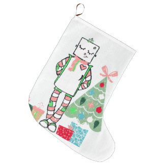 Adorable Holiday Robot, Tree, & Gifts Stocking