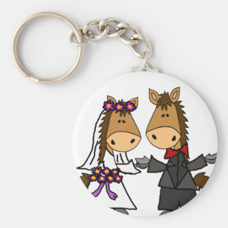Adorable Horse Bride and Groom Wedding Basic Round Button Keychain