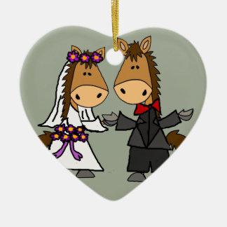 Adorable Horse Bride and Groom Wedding Ceramic Ornament