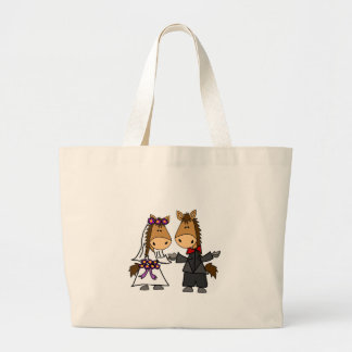 Adorable Horse Bride and Groom Wedding Large Tote Bag