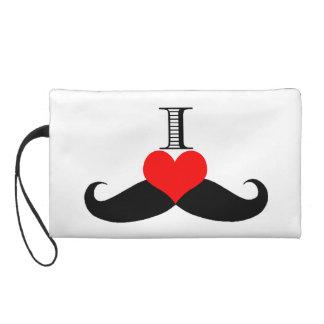 Adorable I Love (Heart) Mustaches Wristlet