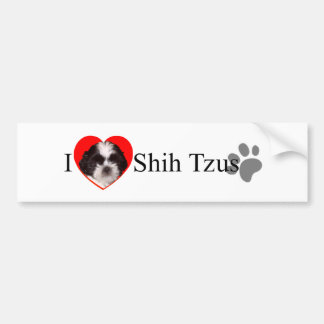 Adorable I Love Shih Tzus Bumper Sticker