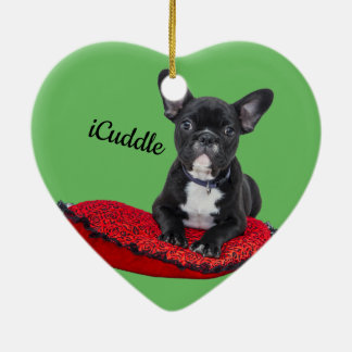 Adorable iCuddle French Bulldog Ceramic Ornament