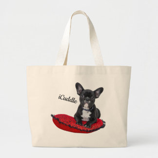 Adorable iCuddle French Bulldog Large Tote Bag