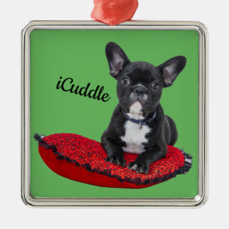 Adorable iCuddle French Bulldog Metal Ornament