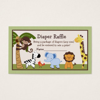 Adorable Jungle Buddies Diaper Raffle Tickets