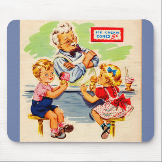 adorable kids at the soda fountain mouse pad