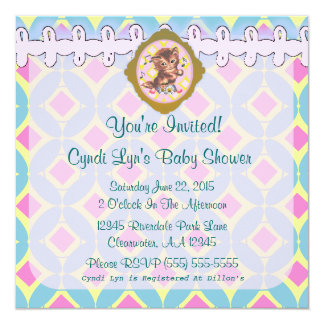 """Adorable Kitten Baby Shower Event Announcement - 5.25"""" Square Invitation Card"""
