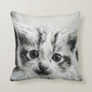 Adorable Kitten Face Throw Pillow