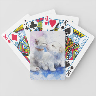 Adorable Kitten & Labrador Puppy Kiss Bicycle Playing Cards
