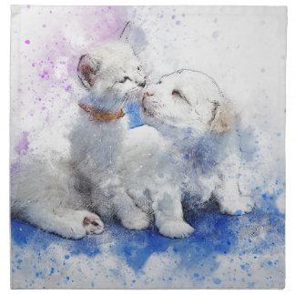 Adorable Kitten & Labrador Puppy Kiss Napkin