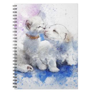 Adorable Kitten & Labrador Puppy Kiss Notebook