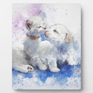 Adorable Kitten & Labrador Puppy Kiss Plaque