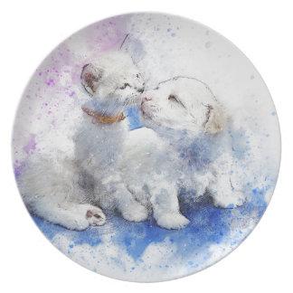 Adorable Kitten & Labrador Puppy Kiss Plate