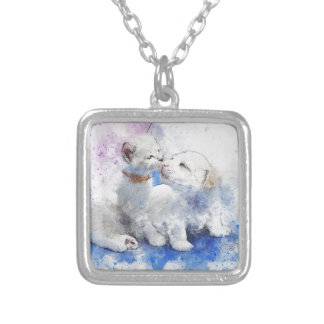 Adorable Kitten & Labrador Puppy Kiss Silver Plated Necklace