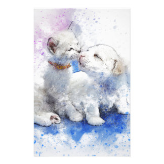 Adorable Kitten & Labrador Puppy Kiss Stationery