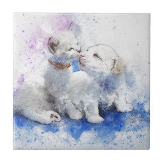 Adorable Kitten & Labrador Puppy Kiss Tile