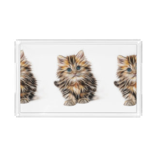 Adorable Kitten Painting Acrylic Tray