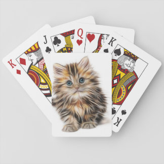 Adorable Kitten Painting Playing Cards