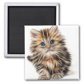Adorable Kitten Painting Square Magnet