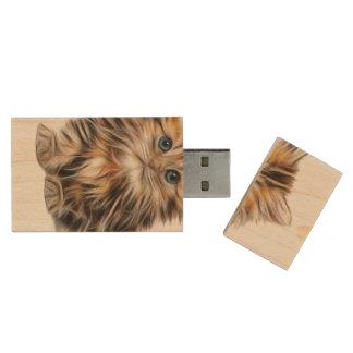 Adorable Kitten Painting Wood USB Flash Drive