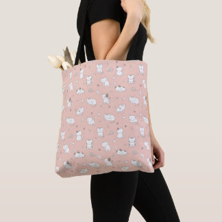 Adorable Kitty Cats Pattern On Pink Tote Bag