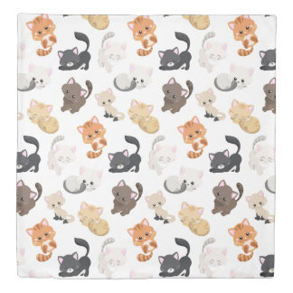 Adorable Kitty Cats Print Duvet Cover