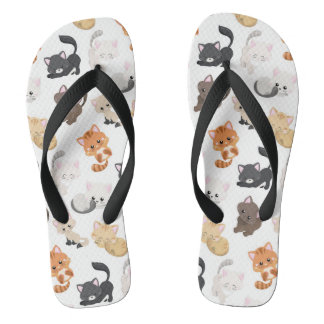 Adorable Kitty Cats Print Flip Flops