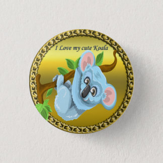 Adorable koala bear hanging on a tree branch 1 inch round button