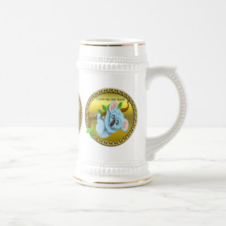 Adorable koala bear hanging on a tree branch beer stein