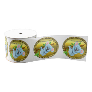 Adorable koala bear hanging on a tree branch grosgrain ribbon