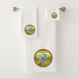 Adorable koala bear in a tree in the forest bath towel set