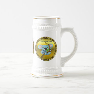 Adorable koala bear in a tree in the forest beer stein