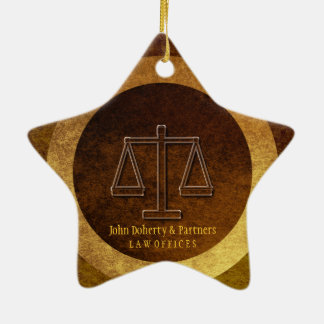 Adorable Lawyer Gift | Scales of Justice Ceramic Star Ornament