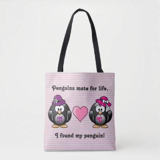 Adorable Lesbian Penguins Two Brides Heart Hats Tote Bag